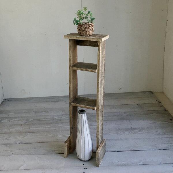 ≪リサイクルウッド・すき間ラック3段≫アンティーク風シェルフ 木製シェルフ 収納棚 木製 トイレ収納 すき間収納 天然木 無垢 アンティーク風