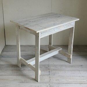 リサイクルウッド ワーキングテーブル コンパクト ホワイト テレワーク 木製テーブル テーブル ダイニングテーブル カフェテーブル 作業台 木製デスク デスク 天然木 無垢 アンティーク風