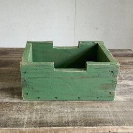 リサイクルウッド・ブロックボックスSリーフグリーン木製箱 木製ボックス 木製BOX 収納箱 収納ボックス 収納BOX 収納ケース /ウッドボックス アンティーク風ボックス アンティーク風BOX 無垢