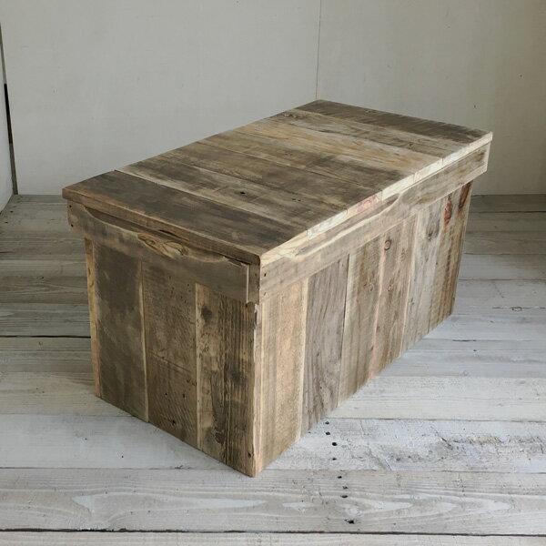 【送料無料】リサイクルウッド ベンチボックス M収納ボックス ベンチ収納 木製ボックス 木製収納 ボックスベンチ 玄関ベンチ