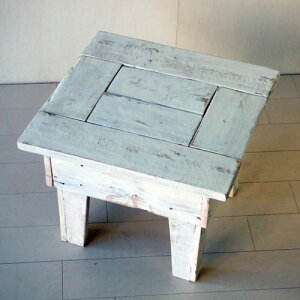 ≪リサイクルウッド・玄関スツールS ホワイト≫ 木製 木製テーブル ベンチ 踏み台 天然木 無垢 アンティーク風
