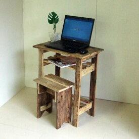 リサイクルウッド・パソコンデスク木製 木製デスク PCデスク デスク 学習机 机 コンパクトデスク コンパクトPCデスク アンティーク風 天然木 無垢