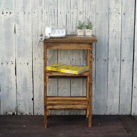 リサイクルウッド 電話台木製シェルフ 木製 木製電話台 FAX台 飾り棚 花台 無垢 天然木 アンティーク風