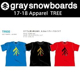 10%OFF graysnowboards グレイスノーボード Tシャツ メンズ レディース 1718TREE 半袖 ブラック ブルー レッドアパレル GRAY