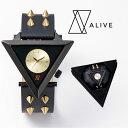 ALIVE 時計 A-FRAME STUDE BELT スタッズ ベルト ブラック ゴールド 腕時計 メンズ レディース 大きめ インパクト ペ…