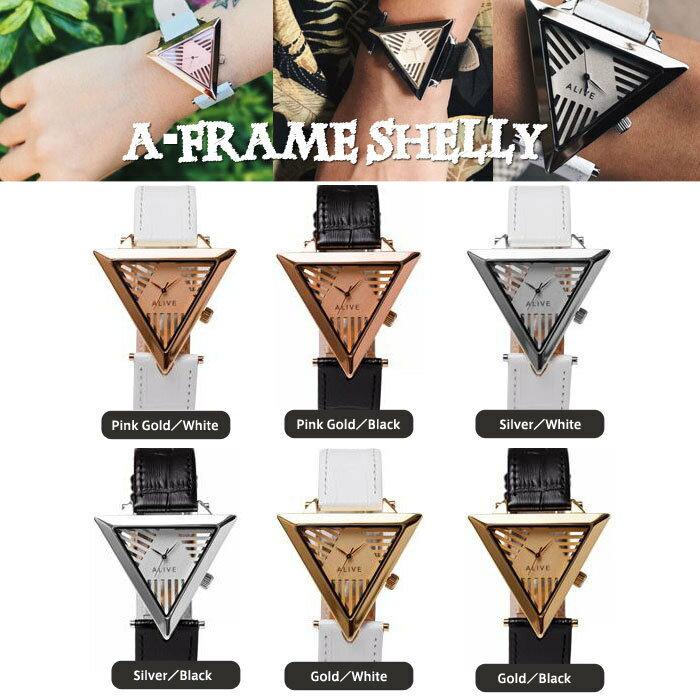 【Alive Athletics】ALIVE 時計 レディース ウォッチ A-FRAME SHELLY (Aフレーム シェリー)Gold / PinkGold / White メンズ レディースアライブの大人気モデルA-FRAMEより少し小さめ46cm 腕時計 逆三角形