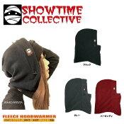16-17フードウォーマーHOODWARMER【SHOWTIMECOLLECTIVE】フリースフードウォーマーソリッドFHW-001無地黒ブラックスノーボードスノボースノボ防寒アイテムフード付きネックウォーマー