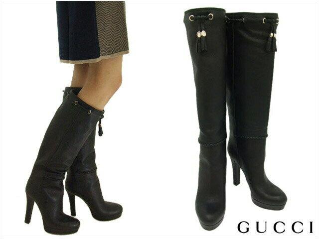 グッチ GUCCI 靴 レディース レザー ロングブーツ タッセル付き ブラック (269734 AMN00 1000 BK)【あす楽対応】