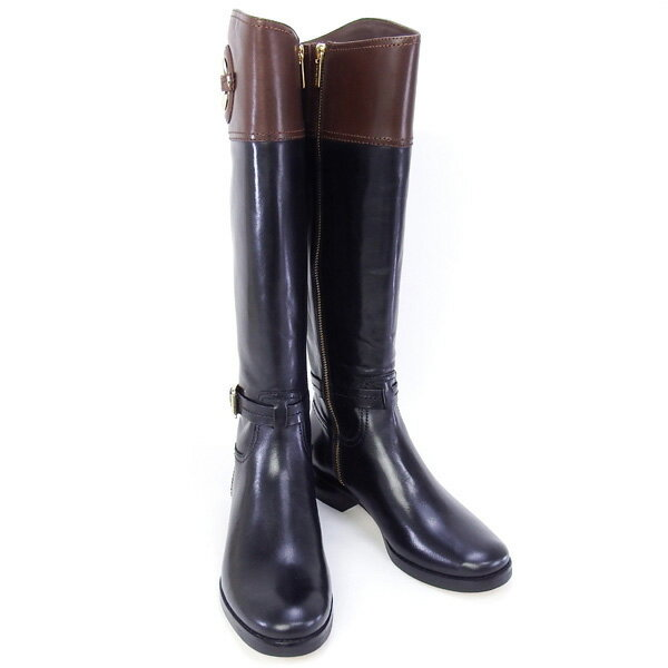 2015秋冬 マイケル マイケルコース MICHAEL MICHAEL KORS 靴 STOCKARD BOOT ロングブーツ ブラック×ブラウン (40F3ADMB6L BLK/MOCHA)