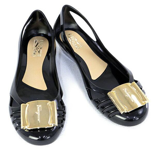 2018年秋冬新作 サルヴァトーレ フェラガモ Salvatore Ferragamo 靴 レディース ロゴプレート付き ラバーシューズ パンプス ブラック (BERMUDA 0550643 NERO)