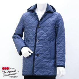 2018年秋冬 トラディショナル ウェザーウェア Traditional Weatherwear メンズ ダービーフード キルティングコート ライトネイビー (DERBY HOOD 7198 TJ07/KZ03 LNV×NV)