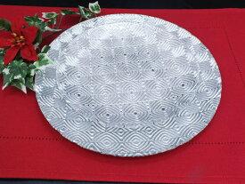 訳あり 丸型 ガラストレイ 飾りプレート シルバー (L080300 SLV)
