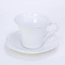 Country Corner (カントリーコーナー) フランス生まれのアンティーク 白い食器カップ&ソーサー グレー色モチーフ (VL6700 WH)