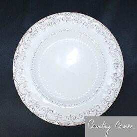 訳あり Country Corner (カントリーコーナー) フランス生まれのアンティーク プレート 洋食皿 白い食器 ローズピンク色の花モチーフ 21cm (VSCT00 WH)