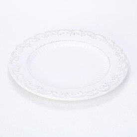 訳あり Country Corner (カントリーコーナー) フランス生まれのアンティーク プレート 洋食皿 白い食器 ローズピンク色の花モチーフ 26cm (VSCA00 WH)