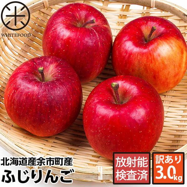北海道余市産 りんご リンゴ3kg(訳あり品・品種:ふじ)【放射能検査済】