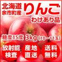 北海道余市産 りんご リンゴ3kg(わけあり品・品種:ふじ)【放射能検査済】