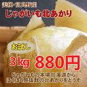 北海道産じゃがいも北あかり(3kg)【お試し小さめM〜LMサイズ】
