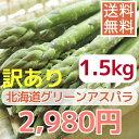 【送料無料】【数量限定訳あり】【露地栽培】グリ−ンアスパラガス(S〜L混1.5kg)※パ−プルアスパラ混合となる場合あります