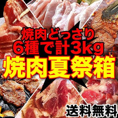 【送料無料】焼肉セット3kg分6品入り食べるぞ焼肉夏祭り[詰め合わせ/BBQ/バーベキュー/牛カルビや牛ハラミ等てんこ盛り](冷凍)