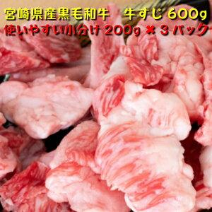 宮崎県産 黒毛和牛 牛すじ 600g 200g×3パック 送料無料(北海道・沖縄除く) 牛肉 国産 煮物 鍋 和牛 ギフト 父の日 鍋 お試し 大容量 煮込み もつ煮