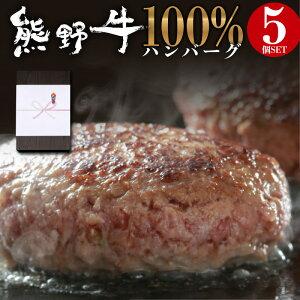 熊野牛 100% ハンバーグ 5食 セット お歳暮 内祝い 贈答品 ギフト に最適 黒毛和牛 和牛 牛 高級 和牛ハンバーグ 1個100g