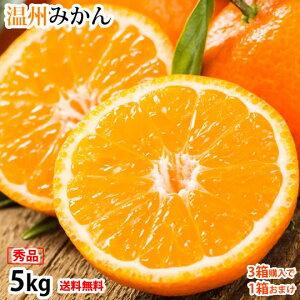 みかん 5kg 送料無料 温州みかん 秀品 3箱購入で1箱おまけ 熊本県産 蜜柑 ミカン フルーツ お取り寄せ