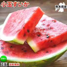 スイカ 訳あり 小玉すいか 送料無料 2玉 約2〜2.5kg 熊本すいか すいか 西瓜 お取り寄せ ひとりじめ 果物 フルーツ