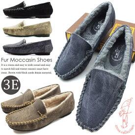 【今だけ送料無料】ANNA COLLECTION-アンナコレクション- ふわふわ暖かなファーモカシンシューズ。抜群の屈曲性で歩きやすいコンフォートパンプスで。レディース スリッポン カジュアルシューズ 3E 幅広設計 痛くない 靴 婦人靴