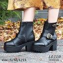 【今だけ送料無料】シンプルなデザインなのでコーデに邪魔しない優秀な一足!厚底エンジニアミドルブーツ。シンプルなデザインの中に、足首と履き口部分に施されたダブルベルトデザインがアクセント。レディース 厚底 ショートブーツ ファスナー エンジニア 靴 婦人靴