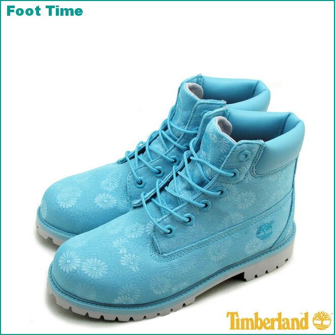 ティンバーランド ジュニア 6インチ プレミアム ブーツ TIMBERLAND JUNIOR 6IN PREMIUM BOOTS A174Mブルー/フローラル BLUE/FLORALレディース ブーツ 『送料無料』