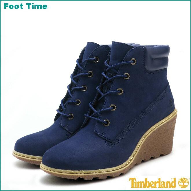 ティンバーランド アムストン 6インチ ブーツ ウェッジソール TIMBERLAND AMSTON 6INCH BOOT WEDGESOLE A1K5F ブルー BLUE レディース ブーツ ヌバック 『送料無料』