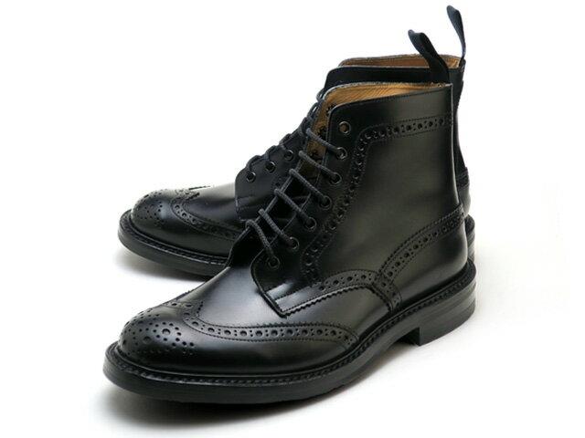トリッカーズ カントリーブーツ ストウ ウィングチップ ブラック ボックス カーフ ダイナイトソール メンズ ブーツ Tricker's M5634 Country Boot Stow Black Box Calf