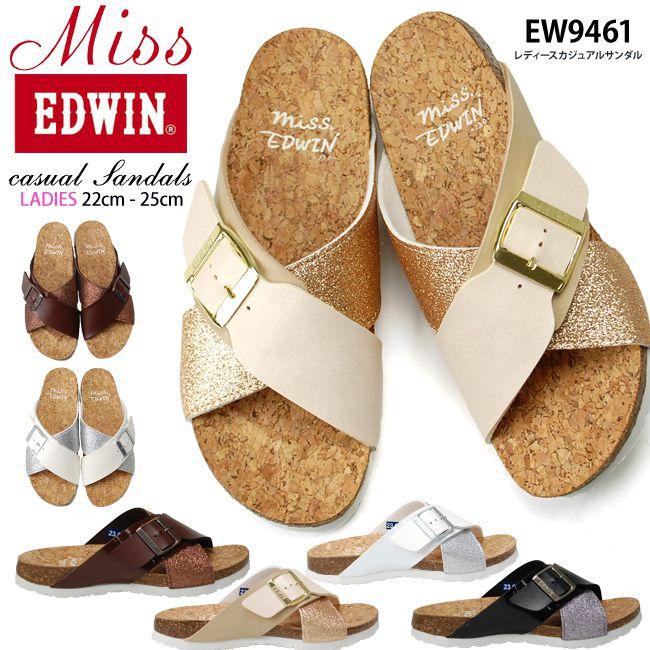 ミスエドウィン レディース サンダル EW9461 3.5cmヒール Miss EDWIN コンフォート カジュアル フットベット スポーツサンダル(1705)【一部取り寄せ品】