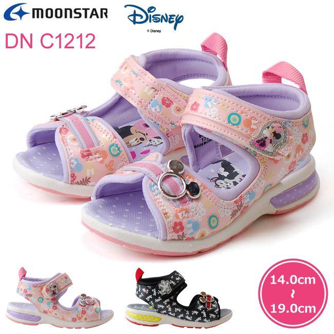 ムーンスター ディズニー キッズサンダル MoonStar DN C1212 ミッキー ミニー ブラック ピンク ベルクロ スポーツサンダル 女の子 子供靴 (1805)
