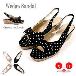 日本製造女士背帶點水滴涼鞋楔子鞋底涼鞋3772