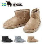 モズレディースブーツMZ454ショートブーツMOZブラックグレーオークMLLLムートン調フェイクファー秋冬暖かい柔らかいエルクヘラジカ北欧靴(1910)(E)