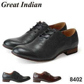 グレートインディアン 8402 Great Indian メンズ ビジネスカジュアル シューズ ダークブラウン ダークグレー プレーントゥ 紳士 秋毎 (1804)