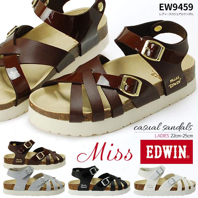 【今だけ送料無料】Miss EDWIN(ミスエドウィン) 女性用 レディースサンダル EW9459 婦人 軽量 ベルト コルク