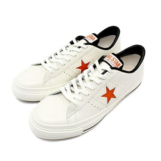 供匡威一明星皮革CONVERSE ONE STAR J OX[白/橙子]日本制造人运动鞋低切男性使用的men's sneaker 2015SS