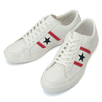 Converse genuine CONVERSE STAR BARS LEATHER [white/red/Navy] men's sneaker low-cut star & the Byrds leather stores limited