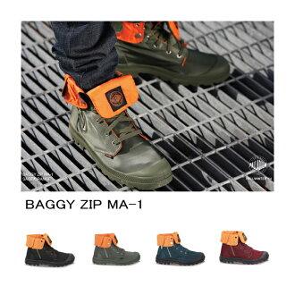 巴拉蒂姆阿尔法运动鞋PALLADIUM×ALPHA INDUSTRIES BAGGY ZIP MA-1 03224 bagimenzusunikabutsuhaikattomiritari men's sneaker高cut运动鞋