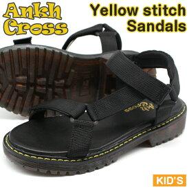 サンダル キッズ 子供 靴 スポーツ 黒 ブラック ベルクロ カジュアル イエローステッチ 防滑 Ankh Cross AUW-2005