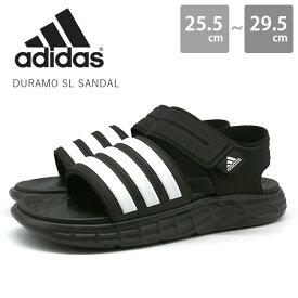 アディダス メンズ サンダル 靴 黒 ブラック 白 ホワイト スポーツ ベルクロ ベルト シャワーサンダル ジム 運動 アクティブ 夏 海 川 adidas DURAMO SL SANDAL