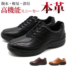 スニーカー メンズ 靴 黒 ブラック 本革 軽量 軽い 疲れにくい 通気性 外せるインソール 幅広 4E 抗菌 防臭 滑りにくい 撥水 ドクターアッシー Dr.ASSY DR-8014