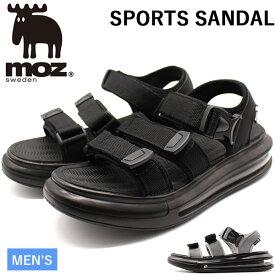 【セール】モズ サンダル メンズ 靴 スポーツサンダル 黒 ブラック グレー エアクッション 厚底 疲れにくい 人気 北欧 カジュアル moz 1805