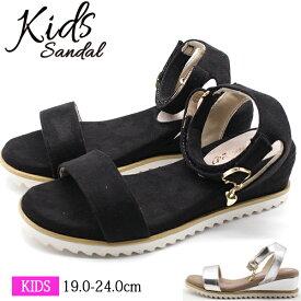 サンダル キッズ 子供 女の子 靴 黒 ブラック シルバー ウェッジ シンプル クッション 軽量 軽い ベルクロ 大人っぽい Princess Rose R43634-17