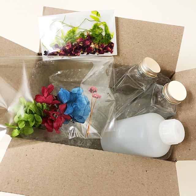 ハーバリウム作成セット(紫陽花デザイン)【完成品ではございません】Herbarium ボトル 小ロット 花材 オイル シリコンオイル ドライフラワー プリザーブドフラワー お試しキット 手作りキット