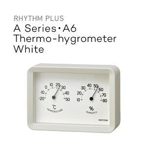 リズムプラス A Series・A6 温湿度計 White RHYTHM 9CZ204SR03 ホワイト 温度計 湿度計 サーモメーター アナログ 掛置兼用 壁掛け RYHTHM PLUS Aシリーズ A6 シンプル おしゃれ 四角 スクエア リズム時計 リ