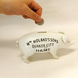【ポイント10倍】HAMS STANDING PIG BANK ハムズスタンディングピッグバンク 豚の貯金箱 アンティーク加工 鉄製 開封可能